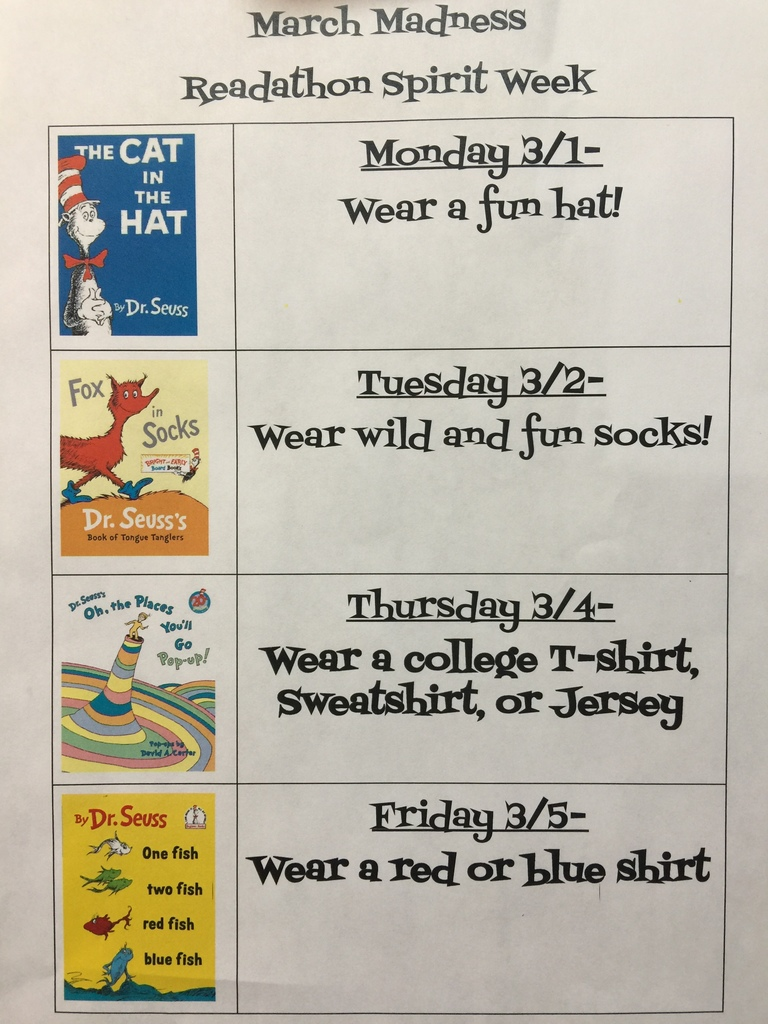 This week is March Madness Read-a-thon Spirit Week at Dedham School